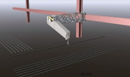 """<span class=""""fontBold"""">H形鋼をレールにして移動させる方式。鉄筋の置き場所などで使えそうだ</span>(清水建設提供)"""
