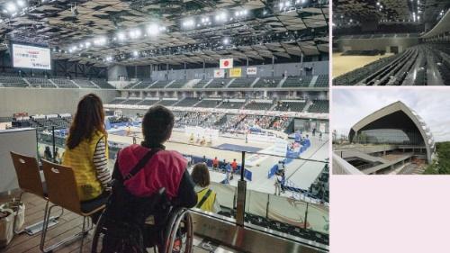 改修で新設された席(左、写真=日本財団パラリンピックサポートセンター提供)。一般席を撤去して3階の東西に69席の車椅子使用者席を増設(上1枚目、写真=東京都提供)。武蔵野の森総合スポーツプラザの外観(上2枚目、写真=安川千秋)