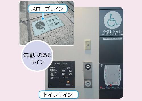 """<span class=""""fontBold"""">汎用性ある""""気遣いサイン"""" <br/>スロープの勾配と長さを記載したサイン(左上)。同伴者に車椅子を押してもらうかどうかなどの判断ができる。多機能トイレ前では、フロア内に分散した機能が分かるようにした(右上)。「スポーツ施設に限らず、他の施設でも取り入れたい視点だ」と竹林氏 </span>(写真=左上:日経アーキテクチュア、右下:東京スタジアム提供)"""