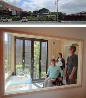 Casual Resort COFF Ichinomiyaの外観(上)。リニューアルオープンに備え、車椅子を使う人による実地調査を行った(下)(写真=日経アーキテクチュア)