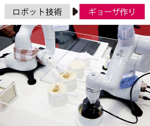 """<span class=""""fontBold"""">デンソーウェーブはギョーザを包むロボットを開発</span>"""