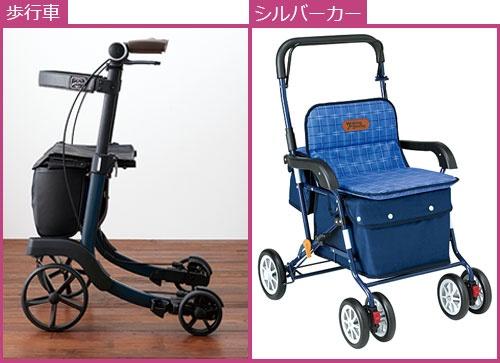 "<span class=""fontBold"">幸和製作所の成長を支えたシルバーカー(右)と、2007年に参入した歩行車(左)。外観は似ているが、構造は異なる</span>"