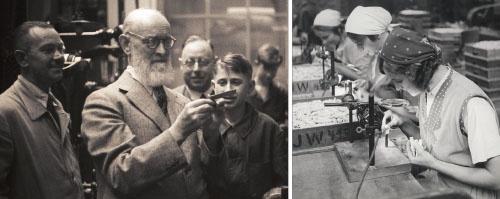 「Invented for Life」(人々の生活を豊かにする開発)がロバート・ボッシュの信念だった(左の写真の中央)。右の写真は1936年当時のフォイエルバッハ工場でスパークプラグの検査をする女性たち