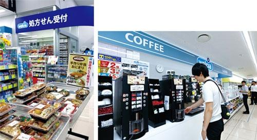 近隣のオリジン東秀の店舗から仕入れる弁当(左)。コーヒーマシンも設置(右)(写真=竹井 俊晴)