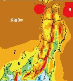 <b>沖合に風速8m超えの海が広がる(高度70m)。NEDO提供の風況マップ</b>