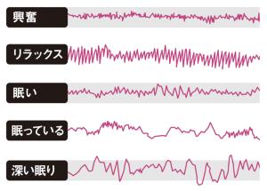 精神状態によって波形が大きく異なる<br /> <span>●主な状況と脳波の動き</span>