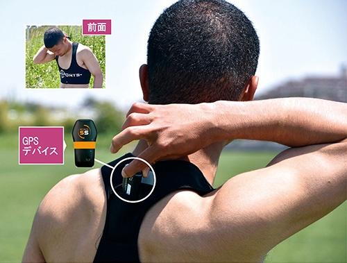 <b>選手は、背中の部分にGPSデバイスを入れるポケットが付いたブラジャー型装具を身に着ける。GPSデバイスは複数種類ある。GPSに加えて他のGNSS(測位衛星システム)にも対応。加速度・角速度・地磁気センサーなども内蔵する</b>(写真=2点:湘南ベルマーレ)