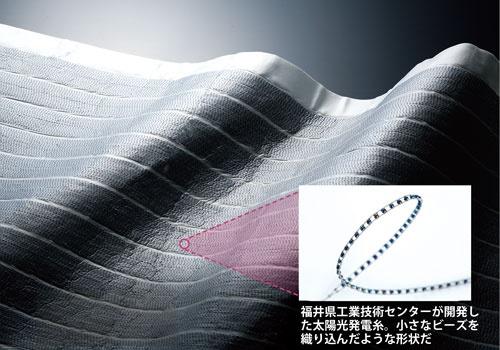 太陽光で発電する生地<br /> <span>●福井県工業技術センターが開発した新型電池</span>
