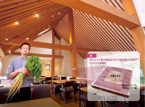 <b>オトノハカフェ(東京・文京)は柱や梁にFRウッドを採用し、幹線道路沿いでも山小屋風の空間を実現</b>(写真=藤村 広平)写真1