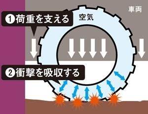 空気はバネのような役割を果たす<br />●空気入りタイヤの断面イメージ図