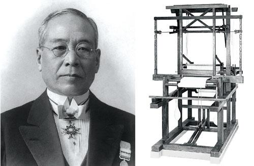 <b>トヨタグループの創始者、豊田佐吉は「からくりの精神」を現場に残し、それは今も生きている。右は佐吉がからくりの要素を用いて発明した豊田式木製人力織機(1890年特許出願)</b>(写真提供=トヨタ)