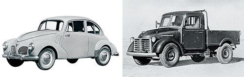 <b>トヨタのSA型乗用車(左)とSB型トラック</b>(写真提供=トヨタ)