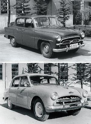 <b>クラウンの開発を託された中村健也らが試作を重ねたのち、1955年に自家用車向けのトヨペット・クラウンRS型(上)と、営業車向けのトヨペット・マスターRR型(下)が発売された</b>(写真提供=トヨタ)