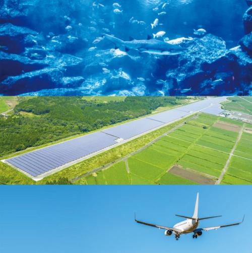 "<span class=""fontBold"">水族館の運営も手掛ける。写真は東京・墨田のすみだ水族館 (上) 太陽光発電量では国内トップ(中)コンセッションにより国内3空港の運営を手がける(下)</span>(写真=下:m.Taira/PIXTA(ピクスタ))"
