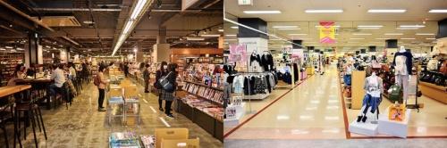 <b>アピタ新守山店の「草叢ブックス」は客でにぎわうが(写真左)、同じ階の衣料品売り場には閑古鳥が鳴く</b>(写真=藤村 広平)