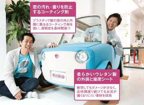 <b>超小型電気自動車の素材を開発する三井化学の研究者、山岡宗康氏(右)とリモノの伊藤慎介社長(左)。</b>(写真=的野 弘路)