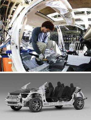 <b>工場をIoT化する実証実験の成果を日本から世界に展開する。「カムリ」を製造する米国の工場(写真上)。TNGAによるプラットフォーム(写真下)をプリウス、C-HR、カムリに続き、トヨタ自動車の多くの車種に適用していく</b>