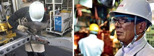 <b>溶接工程での技能者育成(左の写真)。手作業の技能向上に力を入れる。製造現場の人材育成を指揮する専務役員の河合満氏(右の写真)</b>
