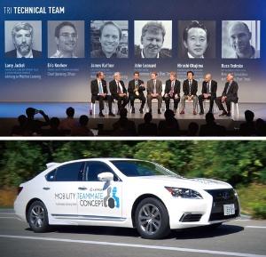 <b>AIを研究するTRIの主要メンバー(写真上)。世界的に有名な研究者を多数集めて、自動運転車などを研究する。トヨタは高速道路だけでなく、市街地でも走行可能な自動運転車の試作車を開発している(写真下)</b>