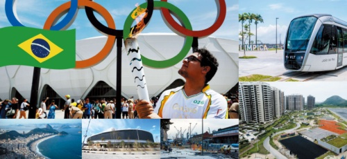 <b>(左上から時計回りに)ブラジル全土を回る聖火リレー、リオの中心街に開通したライトレール、建設中の選手村、開幕に向け工事が続く関連施設、自転車競技が開催されるベロドローム、リオを象徴するコパカバーナビーチ</b>(写真=上:ロイター/アフロ、下段左:AP/アフロ、同中:新華社/アフロ、同右:アフロ1、写真=下:新華社/アフロ)