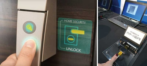 "<span class=""fontBold"">JDIは透明な指紋センサー(右)で、玄関ドアなど新規領域への開拓を目指すが……</span>"