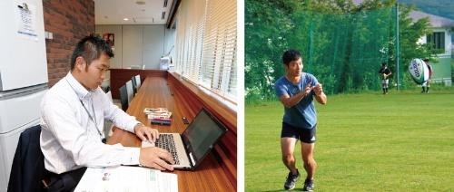 <b>食品事業本部家庭用事業部の羽藤耕一郎さんは総実労働時間が減り、週末にラグビーのコーチを務めるように</b>(写真=左:都築 雅人)