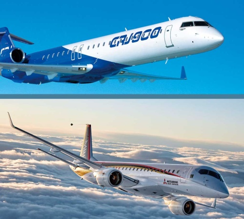 "<span class=""fontBold"">ボンバルディア(上)にとって、MRJ(下)の小型旅客機市場参入は経営リスクとなる</span>(写真=下:三菱航空機(株)提供)"