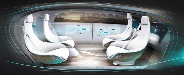 """<span class=""""fontBold"""">メルセデス・ベンツの自動運転のコンセプトカー「F 015」の内部。運転手が要らないため全員が対面で座ってくつろぐことができる</span>"""