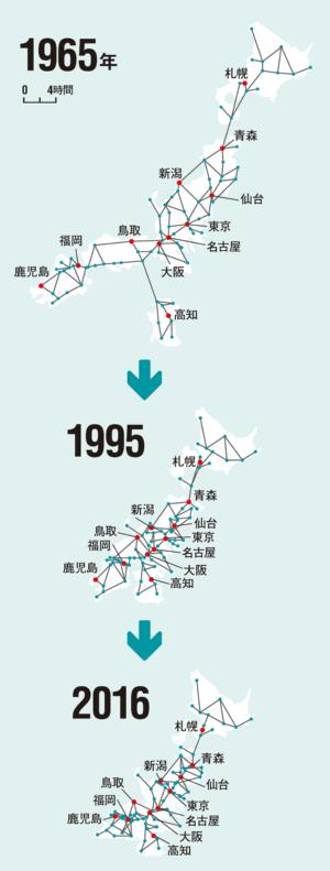 東京からの移動時間は年々、縮んでいる<br /> <span>●東京から地方への鉄道移動時間を示した「時間地図」</span>