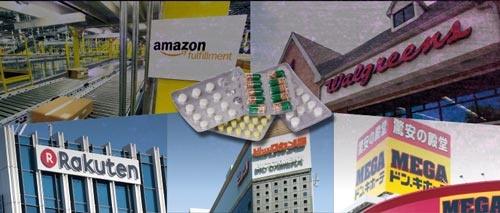 """<span class=""""fontBold"""">規制緩和が進めば薬局業界に多くの異業種が参入し、""""ぬるま湯""""に漬かっていた既存の企業も変革を起こさざるを得なくなるだろう</span>(写真=薬:toomler/Getty Images、アマゾン:AP/アフロ、楽天:Rodrigo Reyes Marin/アフロ、ウォルグリーン:patty_c/Getty Images、ビックカメラ:アフロ)"""
