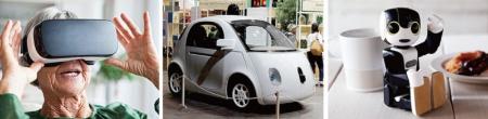 <b>VR、自動運転車、ロボット…。技術の進化によって、高齢者が楽しめ、かつ利便性の高い製品が今後増えてくる</b>(写真=左:アフロ、中:ロイター/アフロ)