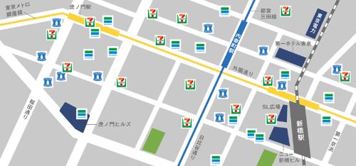 こんな密集地も珍しくない<br /> <span>●東京・新橋周辺における大手3チェーンの主な店舗</span>