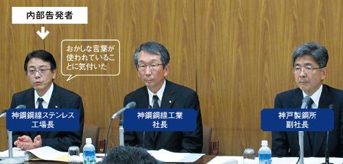 内部告発者が記者会見で経緯を説明した神戸製鋼