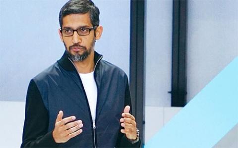 <b>AutoMLを発表したグーグルのスンダル・ピチャイCEO (最高経営責任者)</b>