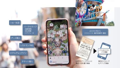 アプリでパーク体験を高める<br><small>●「東京ディズニーリゾート・アプリ」の主な機能</small>