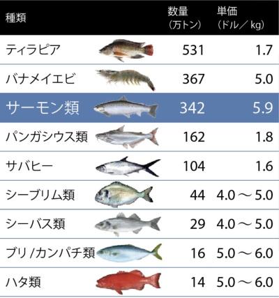 サーモンは生産量が多く、単価も高い<br /><small>●世界の主な養殖魚</small>