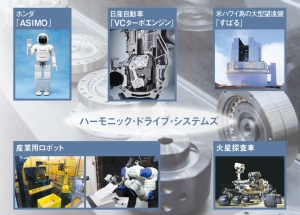 製品はロボットだけでなく車や宇宙関連機器にも採用される<br><small> ●ハーモニックの製品を採用している主な製品</small>