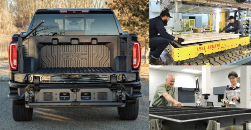 """<span class=""""fontBold"""">米GMのピックアップトラックの荷台に使われている複合材料。ミシガン州の技術センターなどで複合材料を作り(右上)、帝人とCSPの社員が議論しながら開発を進める(右下)</span>"""