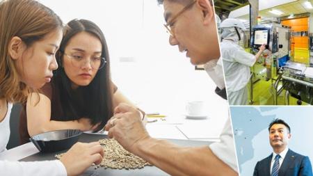 "<span class=""fontBold"">UCCグループは「コーヒーアカデミー」をマニラに開設(上)。台湾で最新の生産技術を導入した(右上)。統括会社の上島昌佐郎CEO(右下)</span>(写真=右下:尾関 裕士)"