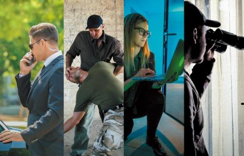 """<span class=""""fontBold"""">近接戦闘の第一人者、エリ・レフラ氏(左から2番目)は、身辺警護や諜報を手掛けるT.D.I.を経営する。その他の写真はイメージ</span>(写真=左端:shutterstock、右から2番目:CasarsaGuru/Getty Images、右端:tiero/Getty Images)"""