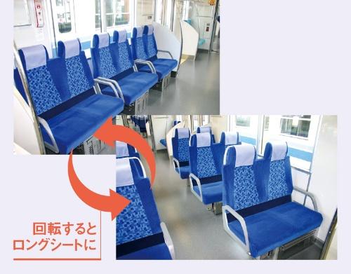 """<span class=""""fontBold"""">TJライナーやQシートでは回転式の座席を使用しており、ロングシートとしても活用できる</span>(写真はTJライナー)"""