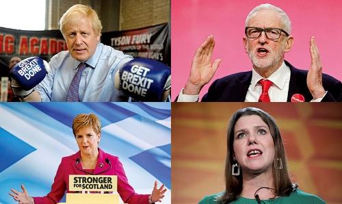 """<span class=""""fontBold"""">左上:保守党のボリス・ジョンソン首相。選挙戦では奔放な発言を控えている<br />右上:労働党のジェレミー・コービン党首。草の根の選挙戦に強み<br />左下:スコットランド民族党のニコラ・スタージョン党首。筋金入りのスコットランド独立論者<br />右下:自由民主党のジョー・スウィンソン党首。39歳とフレッシュだが知名度に課題</span><br />(写真=左上:代表撮影/ロイター/アフロ、右上:AP/アフロ、下2点:ロイター/アフロ)"""