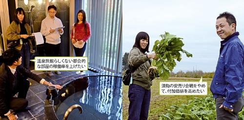 """<span class=""""fontBold"""">(左)藤三旅館別邸は海外のリゾートをイメージして設計している/(右)聖護院カブを持ち上げる副業希望者。漬物の販売促進が課題だ</span>"""