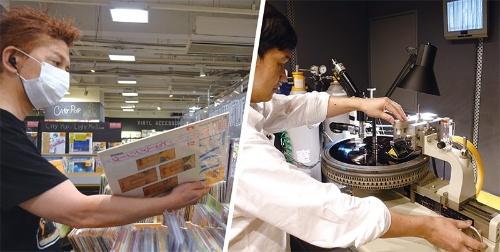 """<span class=""""fontBold"""">レコード店には幅広い年齢層の客が訪れる(HMV record shop 渋谷、左)。レコードのラッカー盤に音源を吹き込むSMEグループの技術者(右)</span>"""