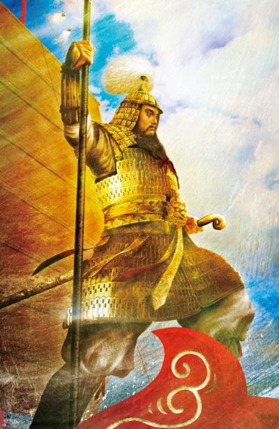 """<span class=""""fontBold"""">飛鳥時代の将軍、阿倍比羅夫(生没年不詳)は東北さらに北海道に及ぶ地域に攻め入り、蝦夷を攻略した。その勇壮な戦いの姿は、青森のねぶた絵にも描かれる。さらに唐や新羅との戦いなど、日本海を舞台に武勇で名を残す</span>(イラスト=正子公也)"""