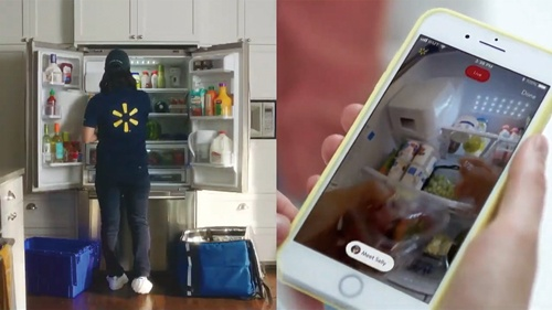 """<span class=""""fontBold"""">冷蔵庫まで生鮮食品を届ける米ウォルマートの「インホーム」</span>(写真=米ウォルマート提供)"""