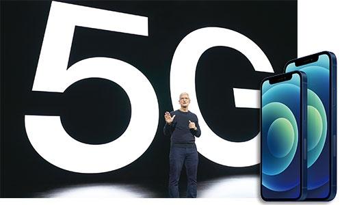 """<span class=""""fontBold"""">アップルは5Gに対応したiPhoneとして主力の「12」(右写真の右)や小型の「12 mini」(同左)など4機種を発表した</span>(写真=左:Brooks Kraft/Apple Inc./AFP/アフロ)"""
