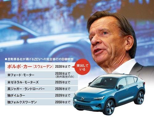 """<span class=""""fontBold"""">ボルボ・カーのサミュエルソン社長(写真上)と新型EV「C40」(同下)</span>(写真=上:AP/アフロ)<br> 注:ZEVとは排ガスを出さないEVや燃料電池車などのこと。ダイムラーとVWの目標は、CO₂を実質的に排出しない車への全面移行の時期としている"""