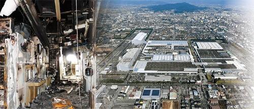 "<span class=""fontBold"">ルネサスエレクトロニクスの那珂工場で発生した火災では23台の装置が使えなくなった(左)。SUBARUは半導体不足により矢島工場で1万台減産する(右)</span>(写真=共同通信)"