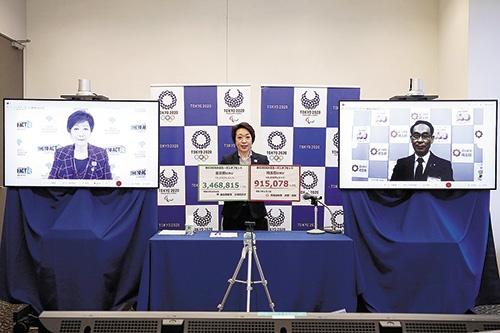 """<span class=""""fontBold"""">都と埼玉県は6月4日、五輪組織委に企業からのCO<sub>2</sub>削減クレジットを渡した</span>(写真=Tokyo 2020)"""